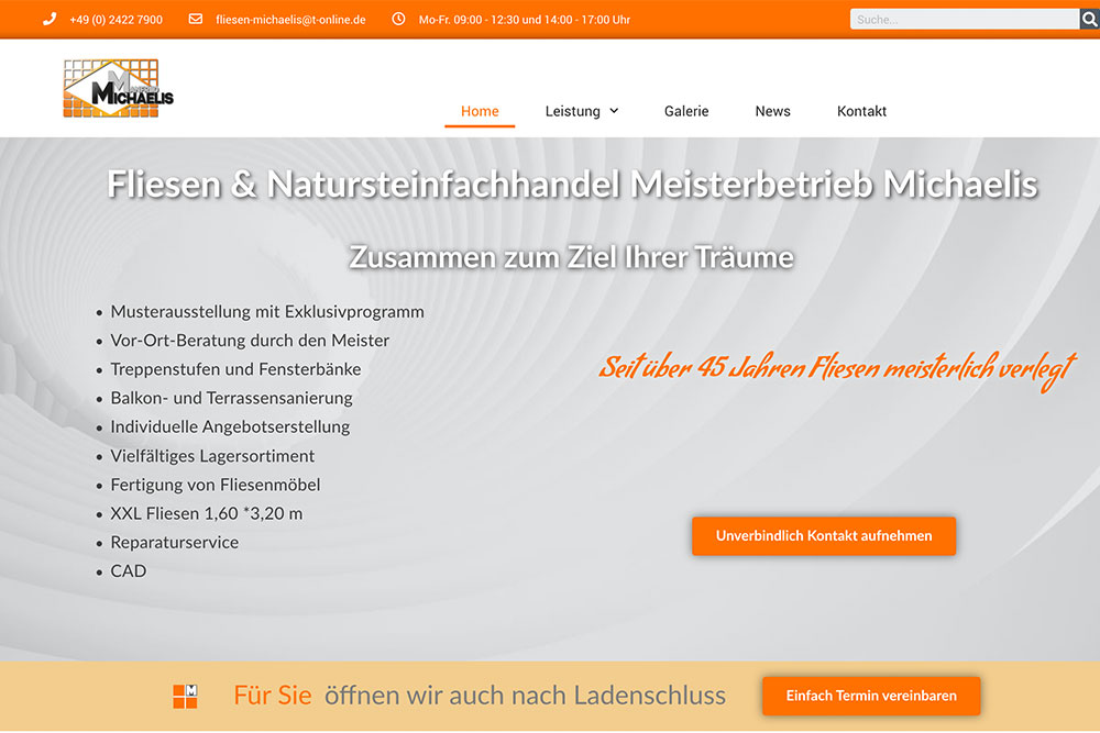 Website Neustart Fliesen Michaelis